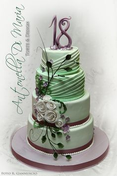 Mint drapes and purple flower design by Antonella Di Maria Torte & Design ♦ℬїт¢ℌαℓї¢їøυ﹩♦ Bithday Cake, 18th Birthday Cake, Happy Birthday, Gorgeous Cakes, Pretty Cakes, Cupcakes, Cupcake Cakes, Green Cake, Elegant Wedding Cakes