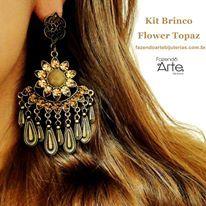 Kit Brinco Flower Topaz - no Ouro Envelhecido com Pingentes de Gotas e Strass Smoked Topaz. Maravilhoso!!!!   Adquira seu Kit por apenas R$31,00!!!