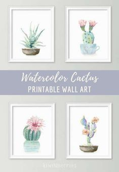 I love the subtle pastels on these watercolor cactus printables. They would look awesome in a cluster or lined up in a hallway. #affiliate #botanical #boho