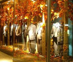 Autumn leaves are a colorful way to attract attention to your window display