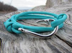 Nautical Fish Hook Bracelet Silver Fish Hook Turquoise Paracord Mens Anchor Bracelet