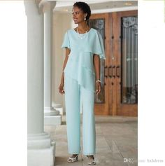 2018 New Mother of the Bride Dresses Pants Suits Wedding Guest Dress Silk Chiffon Short Sleeve Tiered Mother of Bride Pant Suits Custom Made Mother Of The Bride Suits, Mother Of Bride Outfits, Mothers Dresses, Bride Dresses, Halter Dresses, Formal Dresses, Tunic Dresses, Dress Tops, Mother Bride