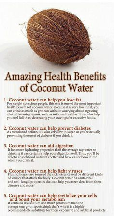 Coconut water came highly recommended to my friend by a leading surgeon in Washington, D.C.