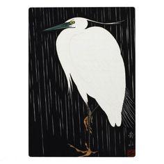 Ide Gakusui White Heron in Rain ukiyo-e japanese Display Plaque