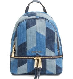 Main Image - Michael Kors 'Small Rhea Zip' Denim Backpack