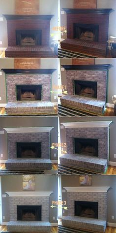 an easy tutorial white-washing brick fireplace. I'm definitely going to lighten up the fireplace in the basement. Fireplace Update, Brick Fireplace Makeover, Fireplace Mantle, White Wash Fireplace Brick, White Wash Brick Exterior, Brick Fireplace Remodel, Fireplace Whitewash, Diy Exterior, Fireplace Bookshelves