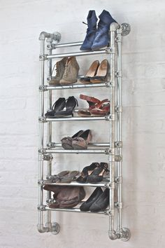 Galvanised Steel Pipe Shoe Rack - Its urban industrial design works perfectly in a sophisticated, casual sleeping space.  This shoe rack can be made