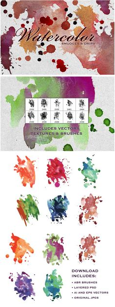 Free Watercolor Smudges – Vectors, Textures and Brushes.