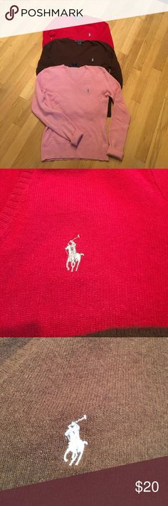 Bundle $50 for 3 Ralph Lauren sweaters, S, XS Bundle of Three Ralph Lauren Sport V-neck sweaters, S, xs   Made in China of Italian yarn. Wool, nylon, viscose and cashmere. Dryclean. Red extra small with silver polo logo. Brown small with gray polo logo. Pink small, with gray polo logo. $20 each, or all three for $50. Though they are different sizes, they were all worn by the same person. Lightweight. Used. Ralph Lauren Sweaters V-Necks