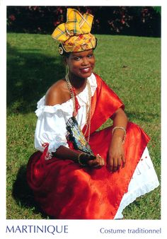 MARTINIQUE - Woman dressed into traditional Creole clothes