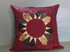 Dresden start quilted throw pillow for my mom, made with Perennials fabrics by Moda