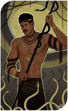 Dragon Age Inquisition - Dorian fan tarot card: Snakes and Gold