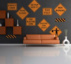 Wallmonkeys Construction Road Signs L And Stick Wall Decals In W X 32 H