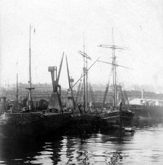 Clyde, Queen's Dock, Gladys of PrestonSailing vessels are moored at the short West Quay, just inside the entrance to Queen's Dock. The swing bridge would be to the left of this picture.