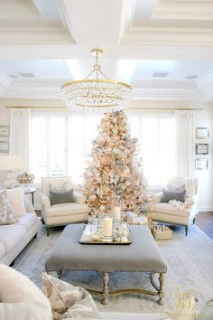 Christmas Home Tour 2017 - Silver and Gold Christmas family room with white flocked tree and pillar candles - Randi Garrett Design