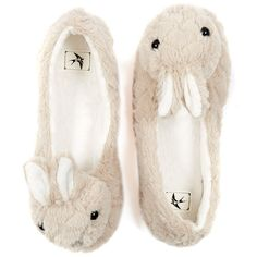 Grey Rabbit Fluffy Slippers (€7,43) ❤ liked on Polyvore featuring shoes, slippers, pajamas and flats