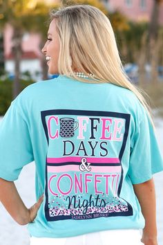Life is a Party with this Coffee Days & Confetti Nights T-Shirt in Mint by one of our favorite Southern Preppy Brands. 100% pre-shrunk, ringpsun pigment-dyed cotton