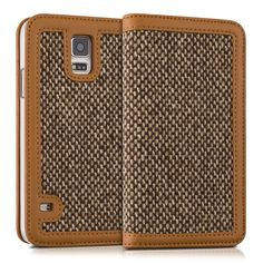 """Amazon.com: Kalibri Wallet Case Cover """"Donna"""" for Samsung Galaxy S5 / S5 Neo - cover flip tweed artificial leather bag with card slots in brown: Cell Phones & Accessories"""