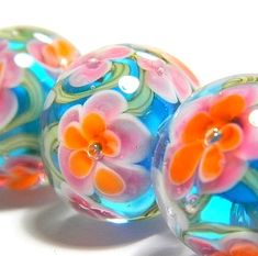 Tropical handmade lampwork glass beads  Tropical Day by MyPrecious