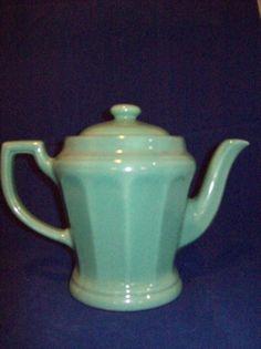 Rare Vintage Porcelier Green Vitrified China Coffee Tea Pot