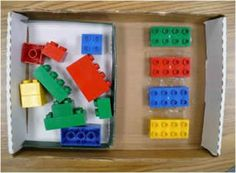 Workbox to teach students either how to play with legos, how to sort by color, or size, or to improve fine motor skills.