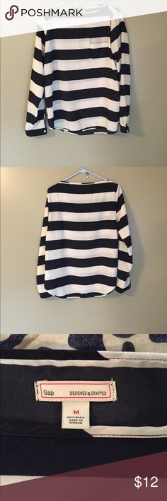 Gap striped long sleeve shirt size med Gap  striped long sleeve shirt size med. navy and white strip. Two very small spots shown in pictures. GAP Tops Blouses