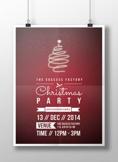 The season of Joy is here!  Christmas Party poster designed for The Success Factory; attractive maroon red theme-centred, quote-like layout that makes it looks like an awesome party that you're not gonna missed out!  Design © Tricia Ooi