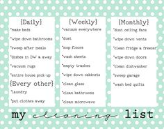 Pretty Chore List #girllovesglam #organization #cleaning