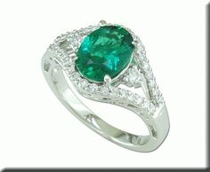 White Gold Brazilian Emerald/Diamond Ring