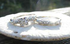 Art Deco Diamond Original Matching Engagement Ring and Wedding Band Set, Old European Cut Diamond, Fine Maker Traub Orange Blossom on Etsy, $710.00