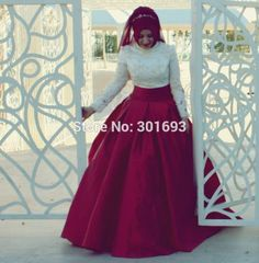 [Click image to buy!] Oumeiya OW521 Ivory Lace Top Burgundy Satin Skirt Two Color Ball Gown Hijab High Neck Long Sleeve Muslim Dress for Wedding  *~* Shop 4 Xmas n 2018. Locate this beautiful piece simply by clicking the VISIT button. #Jewelry