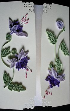 Quilled Fuchias by Paper Quilling Patterns, Origami And Quilling, Quilling Paper Craft, Quilling Craft, Quilling Designs, Paper Crafts, Diy Crafts, Quilling Ideas, Kirigami
