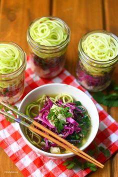 """Mason Jar Instant Ramen Zoodles   Strictly Delicious - *AIP modification: omit sugar in the """"bouillon"""""""