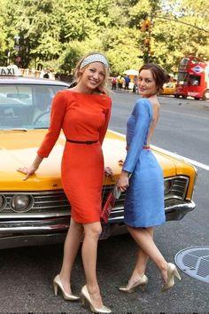 Blair and Serena on set Gossip Girl Looking Chic as always