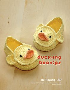 Duck Duckling Baby Booties Crochet PATTERN, PDF - Chart & Written Pattern by kittying.com