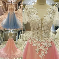 AHS023 New Arrival Tulle White Lace Prom Dresses with Appliques 2017