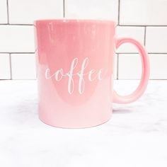 Our chic pink coffee mug design is perfect to glam up any office space or morning coffee nook! A great present for someone who loves coffee! ♥ 11oz Ceramic Coffee Mug ♥ Dishwasher + Microwave Safe ♥ D