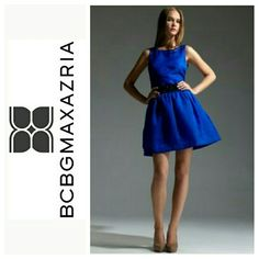Bcbgmaxazria sapphire dress Take additional  $10 off asking price! Offer $10 less and I will automatically accept offer  Gorgeous blue sapphire textured dress with a flare. Never worn, looks great with a belt. NO BELT INCLUDED! Fully lined and tulle material underneath. Will fit a Small. NWT bcbgmaxazria  Dresses
