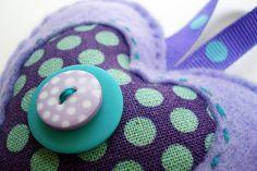 Felt Heart Ornament- Purple  Aqua and Teal Dots