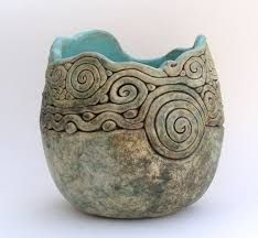 """Clay Coil Pots Base: A slab of clay around thick Slip: Water mixed with clay. Acts as a """"glue"""" for putting pieces of clay together. Coil: Ball of clay rolled out into a long snake like form. Hand Built Pottery, Slab Pottery, Ceramic Pottery, Pottery Vase, Coiled Pottery, Thrown Pottery, Pottery Painting, Ceramics Projects, Clay Projects"""