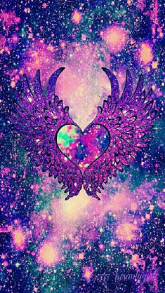 Dark fantasy angel heart wings galaxy iPhone/Android wallpaper I created for CocoPPa.