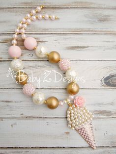 Cream Gold and Pale Pink Pearl Ice Cream Cone Chunky Necklace by babyzdesigns