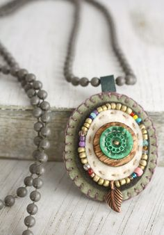 Necklace Orvalho  handmade up cycled beaded charm by LiefsLisette