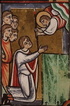kb den haag ms 76 - Saint Servatius receiving from an angel the staff of the bishop of Tongeren Medieval Paintings, Saints And Sinners, The Hague, John The Baptist, Christian Church, Patron Saints, Medieval Art, Man Humor, Catholic