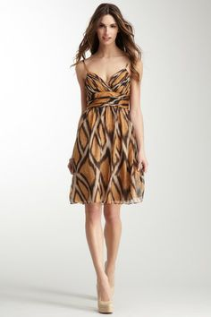 Decode 1.8 Printed Pleat Bodice Silk Dress by Non Specific on @HauteLook