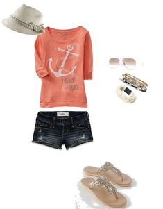 Nautical outfit from Polyvore..... Wish I had this to wear on the cruise.