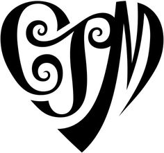 """A custom design of the initials """"CJM"""", created in a heart shape for a tattoo design. More information can be found in my profile (www.flickr.com/people/tiffanyharvey/)."""