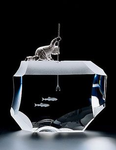 """Jim Houston, """"Arctic Fisherman"""" for Steuben Glass. The loss of this iconic company is another example of American lust for profit over culture and artistry. Diorama, Fused Glass, Stained Glass, Etched Glass, Steuben Glass, Glass Engraving, Art Of Glass, Glass Paperweights, Art Plastique"""