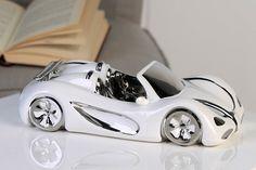 Porcelánové auto Cabriobielostrieborné Shops, Vehicles, Autos, Convertible, Father's Day, Characters, Tents, Car, Vehicle