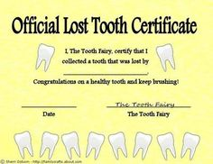 Tooth Fairy Certificate-my daughter was just as excited to see this under her pillow as the money